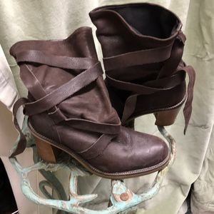 Shoes - Brown leather wrap tie boots